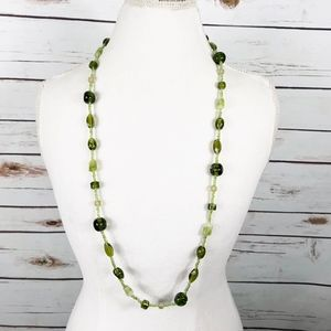 Long Green Glass Beaded Necklace Boho